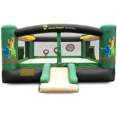 Front view of the Island Hopper Sports and Hops 5 Bounce House and Slide.  Green, Tan, and Black color scheme with tan bounce floor and slide with green and black supports and borders.