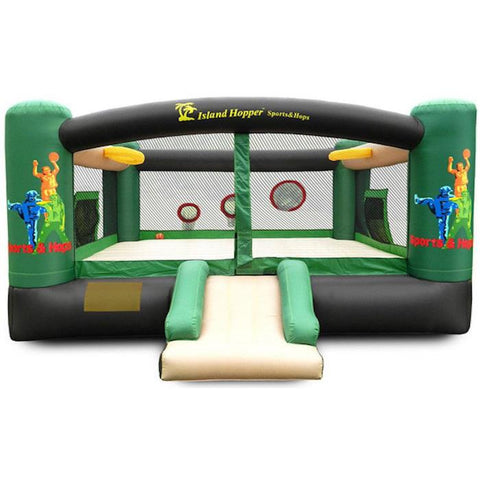 Island Hopper Sports and Hops 5 Activity Bounce House - Front entry view of the recreational bounce house