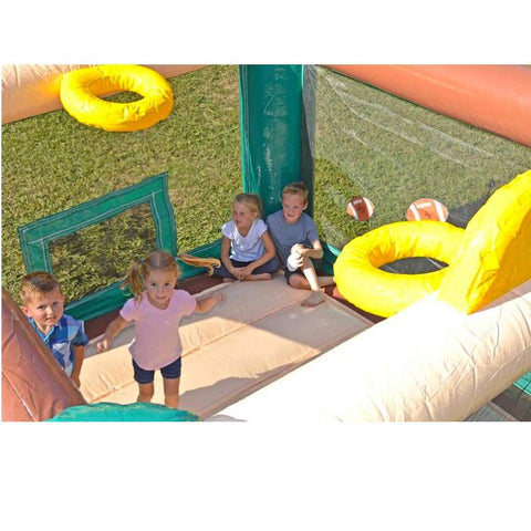 Island Hopper Sports N Hops Commercial Jump House for Sale features 2 basketball goals, a soccer goal, football toss, and baseball toss. One of the best commercial bounce houses on the market
