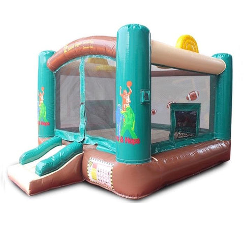Island Hopper Sports N Hops Commercial Bounce House for Sale is shown on a white background. This best commercial bounce house for sale features green, brown, and tan colors with yellow highlights. It is a square inflatable bounce house with a small and not steep entry and exit slide.