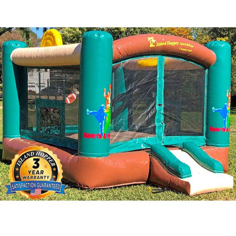Island Hopper Sports N Hops Commercial Bounce House for Sale is shown set up in a back yard. You can see how aesthetically pleasing that it is. The green, brown, tan, and yellow earth tone colors make it a real beauty.
