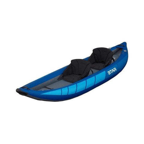 STAR Raven II Inflatable Kayak -Blue inflatable kayak body with black interior. Display view from the front and top.
