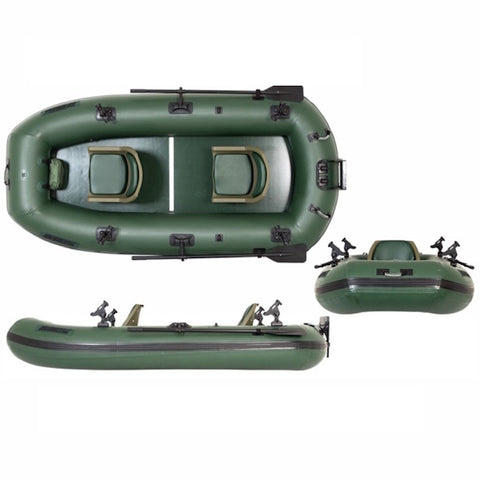 Sea Eagle Stealth Stalker 10 Inflatable Fishing Boat top view, front view, and side view. The Sea Eagle Inflatable Fishing Boat is all hunter green and you can see the Scotty Mount fishing rod mounts on the sides of the Stealth Stalker Sea Eagle Inflatable Fishing Boat.