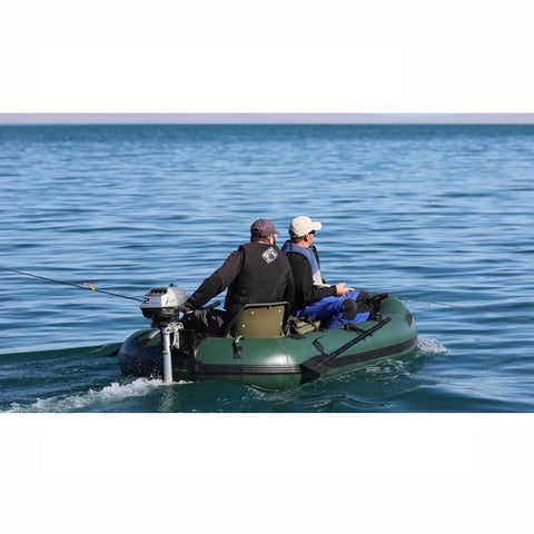 Sea Eagle Stealth Stalker 10 Inflatable Fishing Boat with motor on the water, rear view.