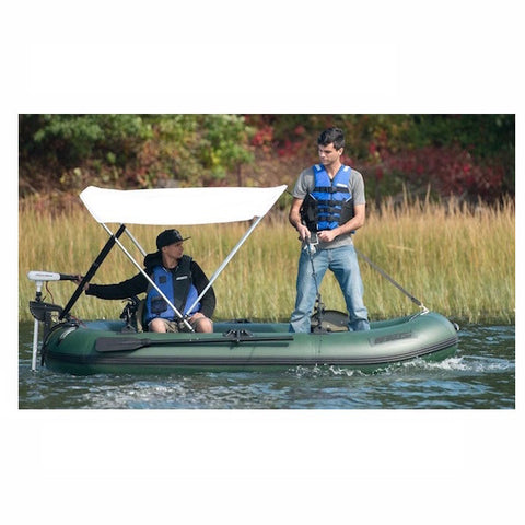 Sea Eagle Stealth Stalker 10 Inflatable Fishing Boat with canopy side view.