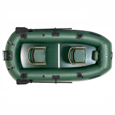 Sea Eagle Stealth Stalker 10 Inflatable Fishing Boat top view close up.  All green interior and exterior of the Sea Eagle Inflatable Fishing Boat is clearly visible along with the swivel seats.