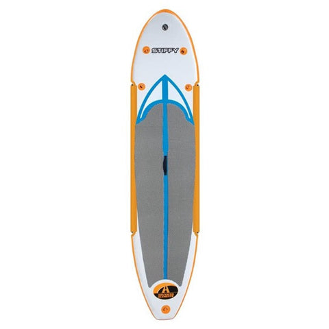 Horizontal top view of the white/orange Advanced Elements Stiffy Inflatable SUP