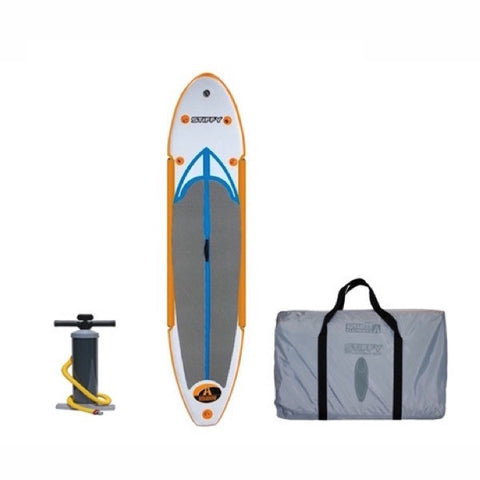 Advanced Elements Stiffy Inflatable SUP - Orange and White design with grey standing pad and blue highlights. Black air pump and grey carry bag also pictured.