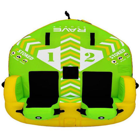 Green and yellow Rave #Stoked 2 Person Towable Boat Tube black seats for 2 riders, sky view.