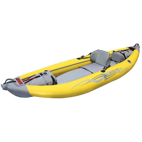 Front/Top display view of the yellow and grey Advanced Elements StraitEdge Solo Inflatable Kayak on a white background.