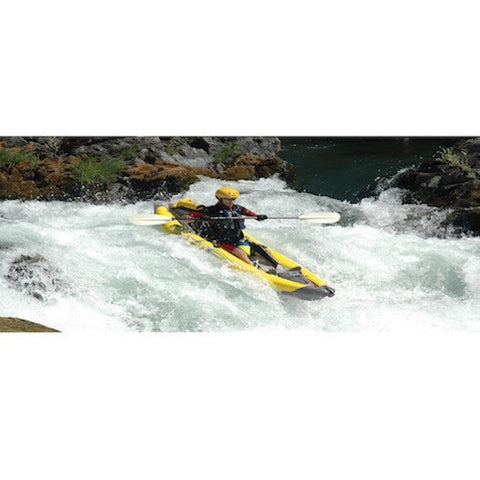 Man paddling through some whitewater rapids in a yellow Advanced Elements StraitEdge Solo Inflatable Kayak