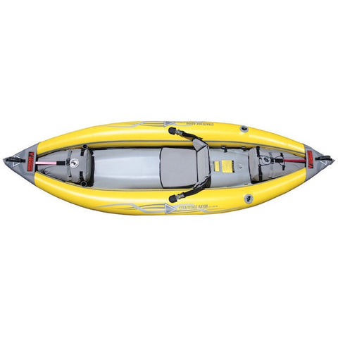 Advanced Elements StraitEdge 1 Person Inflatable Kayak top view. Yellow outter with grey inside.
