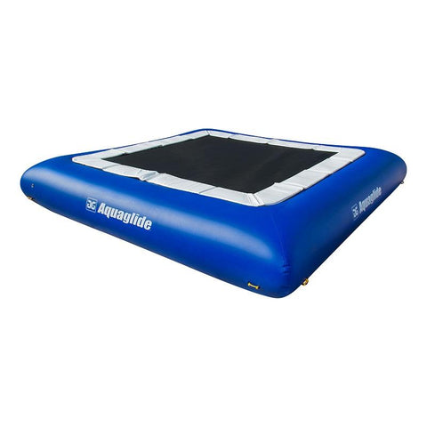 Aquaglide Supertramp 27 Inflatable Water Trampoline. Square water trampoline for sale features royal blue tubes with a white pad and white lettering.