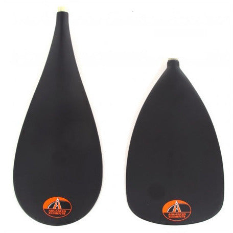 Advanced Elements SwitchIT SUP Paddle - close up of blades, black with orange advanced elements logo.
