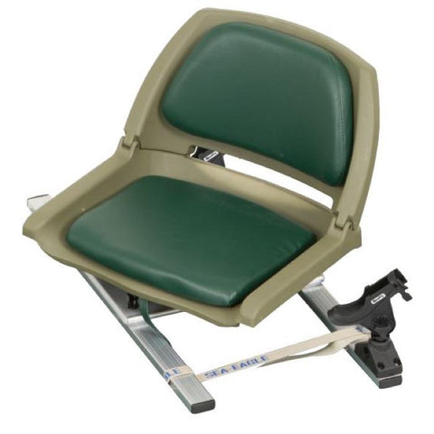 Sea Eagle Green Swivel Seat Fishing Rig - SSFRG - pictured with black Scotty Rod Holders, foldable seat pictured in the upright position on the aluminum frame.