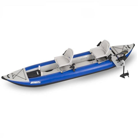 Sea Eagle Swivel Seat Fishing Rig on a 2 Person Sea Eagle Explorer with motormount, top view