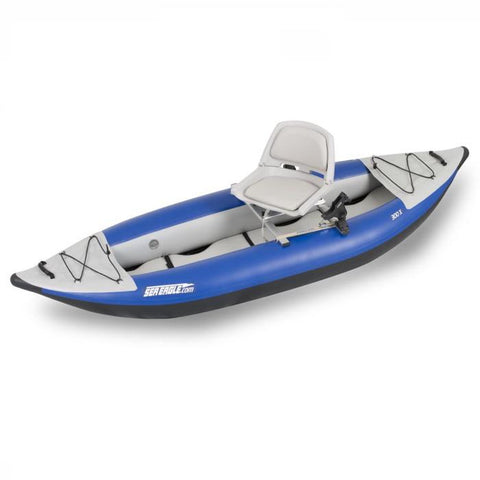 Sea Eagle Swivel Seat Fishing Rig on an Explorer Inflatable Kayak