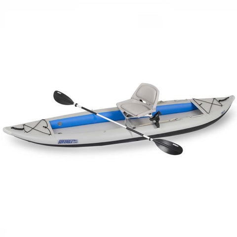 Sea Eagle Swivel Seat Fishing Rig on a FastTrack kayak, top side view.