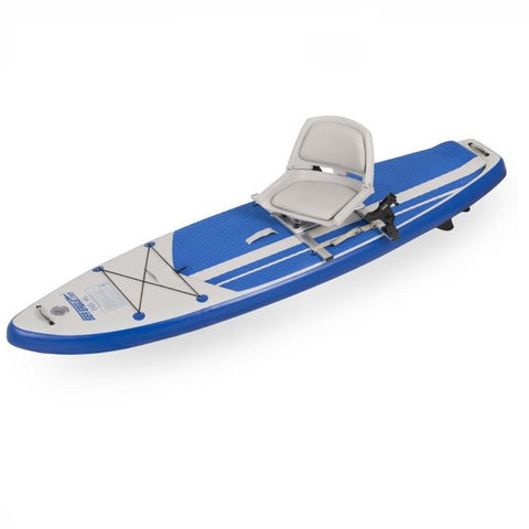Sea Eagle Swivel Seat Fishing Rig on an HB96 Inflatable Hybrid SUP