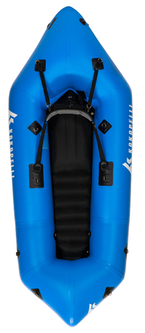 The All-Blue Kokopelli Recon Packraft for Sale is a high quality whitewater packraft for sale. It has black interior and is one of the best self bailing packrafts for sale.