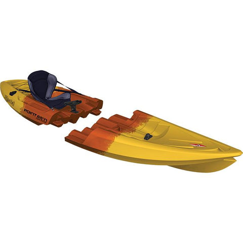 Point 65 Tequila! GTX Angler Modular Kayak - Solo/Tandem - Kayak -  Point 65 - Splashy McFun - Orange and Gold camouflage top right side view - Solo modular kayak