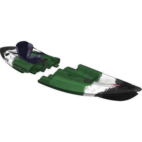 Point 65 Tequila! GTX Angler Modular Kayak - Solo/Tandem - Kayak -  Point 65 - Splashy McFun - Green, White, black camouflage solo modular top right side view