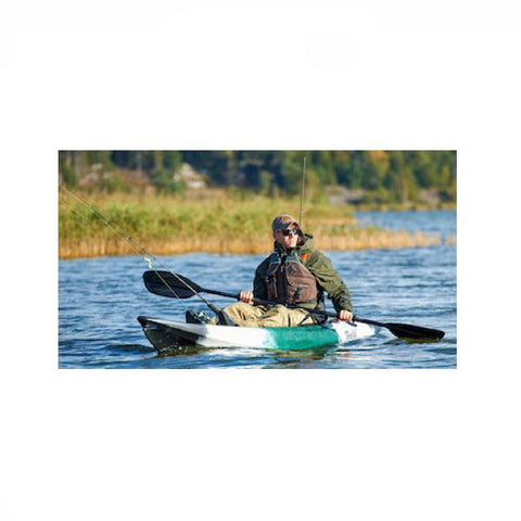 Point 65 Tequila! GTX Angler Modular Kayak - Solo/Tandem - Kayak -  Point 65 - Splashy McFun - Green, White, and Black front view on the water catching fish