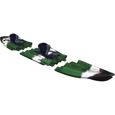 Point 65 Tequila! GTX Angler Modular Kayak - Solo/Tandem - Kayak -  Point 65 - Splashy McFun - Green, White, black camouflage tandem modular kayak top right side view