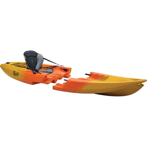 Point 65 Tequila GTX Modular Sit On Top Kayak Solo. The 1 person modular kayak is orange in the middle area and fades into yellow on the front and back of the 1 person kayak.