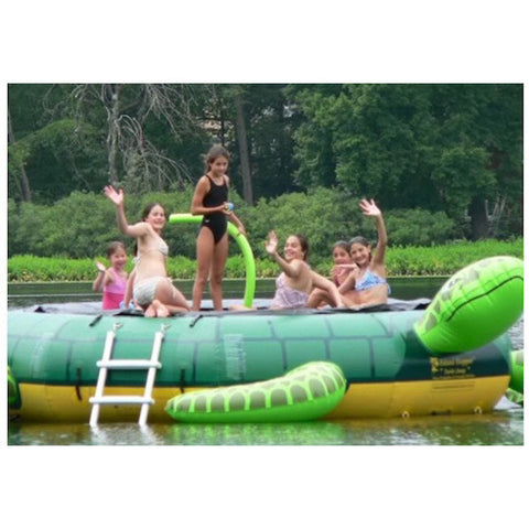 Island Hopper Turtle Jump Water Trampoline being played on by several people on the lake.
