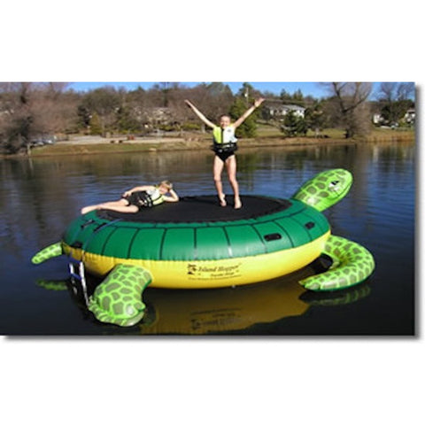 Island Hopper Turtle Hop Inflatable Water Bouncer with 2 people jumping on the water. Front view