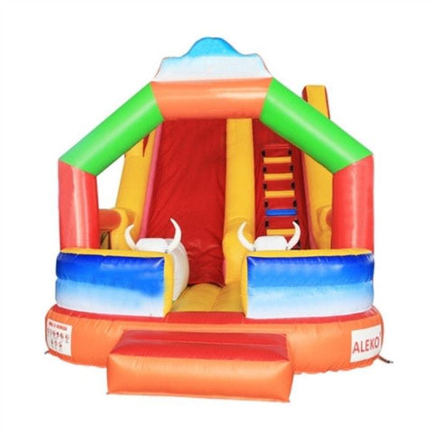 Aleko Commercial Grade Inflatable Bull Outdoor Bounce House with Wet/Dry Slide with Blower - Multi-Col
