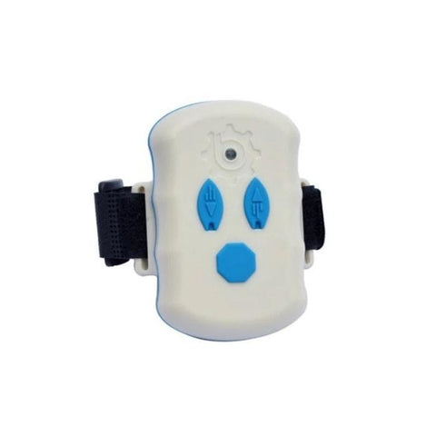 Bixpy Extra Remote for Outboard Power Pack.  White remote with light blue buttons and a black band.  Remote is a rectangle with rounded edges and ends.  This is a display picture of the Bixpy Outboard Remote and it is against a white background.