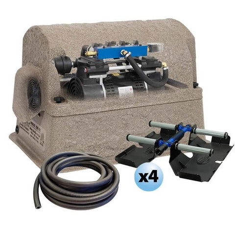 Airmax PondSeries PS40 Aeration System is shown all together with the Rocking Piston Air Compressor, weighted line, aerator pump cover, and weighted hose line; 4 weighted diffuser sleds are included.
