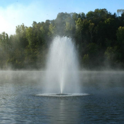 Kasco 3 HP 3.3JF Floating Pond Fountain - Lake Fountain flowing in the middle of a pond.