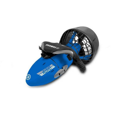 Yamaha RDS250 Seascooter features an all blue design with black handles and a black protector around the propeller cage.