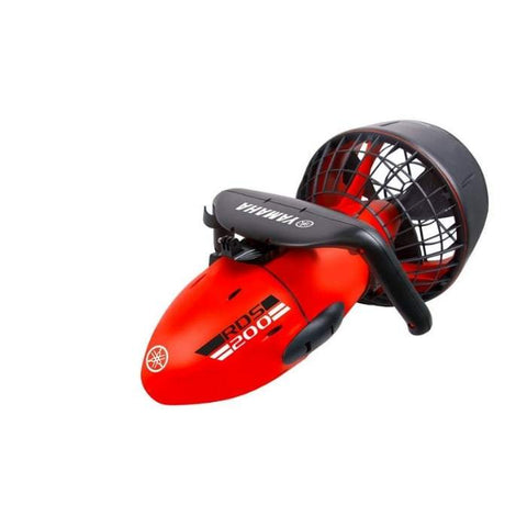 Yamaha RDS200 Seascooter is bright red with a black handle and propeller fan cage.