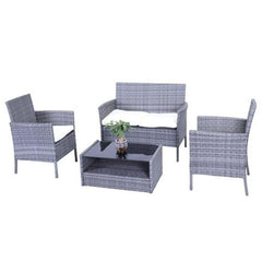Aleko Hamptons Rattan Patio Furniture Coffee Table Set - 4 Piece - Grey Set with Cream Cushions