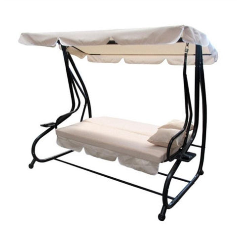 Aleko Canopy Patio Swing Bench with Pillows and Cup Holders - Beige