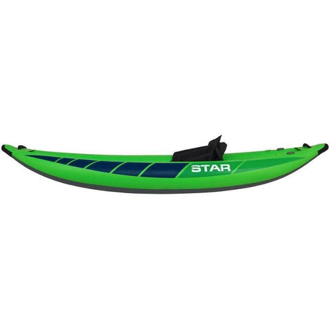 STAR Raven I Inflatable Kayak - Lime.  Side view, lime with black highlights and white lettering.