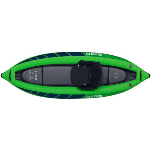 STAR Raven I Inflatable Kayak top view.  Green with blue highlights on the tubes.  Inflatable kayak floor is gray and the seat is black.
