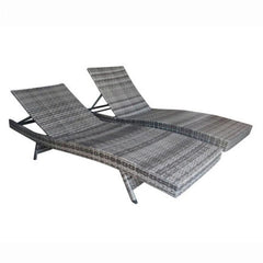 Aleko Adjustable Patio Wicker Lounge Chairs - Set of 2 - Gray