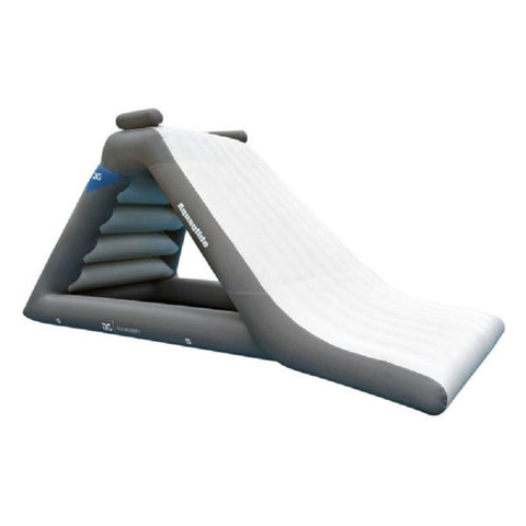 Aquaglide Velocity 10.0 Inflatable Water Slide. The face of the water slide is white while the borders and supports are dark grey.