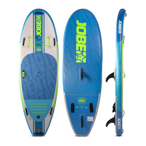 Jobe Venta 9.6 Inflatable SUP is shown in display form with an image of the top, bottom, and side view.  The board is grey with blue decking and bright green highlights and Jobe Inflatable SUP lettering.  The bottom of the board features 3 fins and is bright blue with Jobe inflatable Sup in bright green.  The side of the board is 3 different colors of blue with white Jobe lettering.