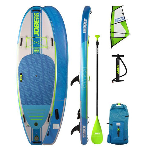 Jobe Venta 9.6 Inflatable Paddle Board Package with Paddle, Pump, Leash, Storage  BackPack and SUP Sail.