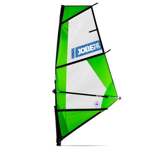 The Jobe SUP Venta SUP Sail is green with a clear middle.  The Jobe logo is in white on a blue background.