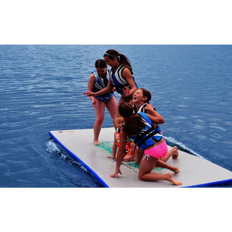 Rave Water Whoosh 10' Inflatable Water Mat - Rafts & Water Mats -  Rave - Splashy McFun - kids standing and playing on the floating mat on the lake