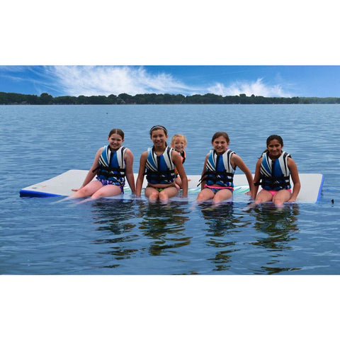 Rave Water Whoosh 10' Inflatable Water Mat - Rafts & Water Mats -  Rave - Splashy McFun - 4 sitting on the floating water mat in the water