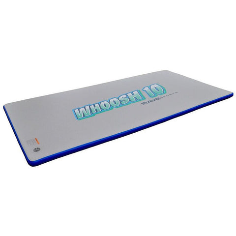 Rave Water Whoosh 10 Inflatable Water Mat - Rafts & Water Mats -  Rave - Splashy McFun - gray with blue border inflatable floating water mat, top side view