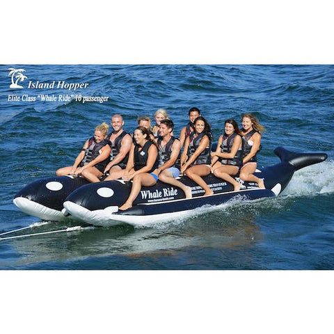 Island Hopper 10 Person Banana Boat Tube Whale Ride gliding across the water full of 10 passengers.